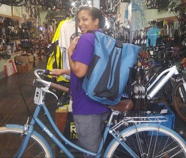 blue bike bag