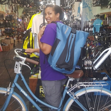 blue bike bag